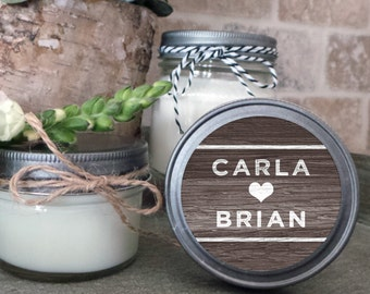 Soy Candle Wedding Favors - Set of 12  - 4 or 8 oz  - Wedding Favor Candles Woodgrain - Personalized Wedding Favors/Shower Favors