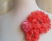 30% off sale, coral flower, vintage pink flower, Headband, Bridal Crown, Wedding Headpiece, Dress Pin, pink Fascinator, champagne flower