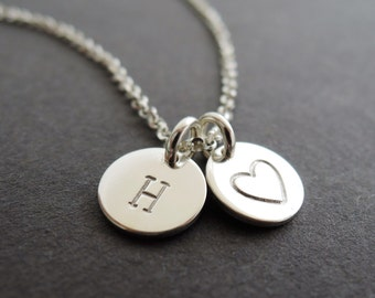 Initial Bracelet best friend gift personalised jewellery hand stamped heart silver charm jewelry in sterling silver