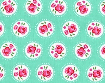 Lil Dotsy Mint Fabric - Fly Away Michael Miller Fabric - Retro Florals Fabric - Michael Miller Retro Rose Circles Stripe - Lil Dotsy 1 yard