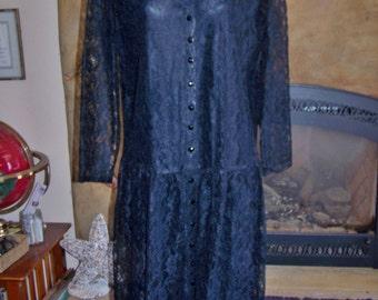 Lace Dress, Black Lace dress, Long sleeve dress, Long Lace dress, size xl  / plus size 1X