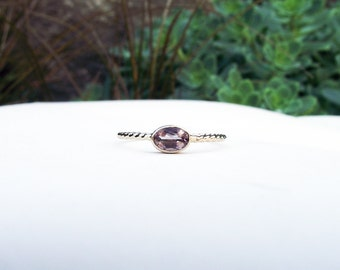 14K Gold Pink Oregon Sunstone Engagement Ring. Oval Gemstone Ring. Nontraditional Engagement Ring. Delicate Engagement Ring.
