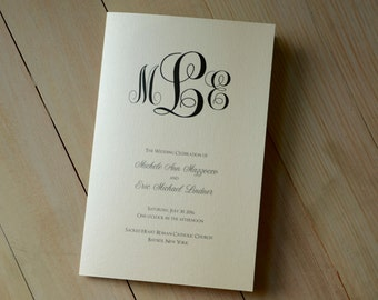 "Classic Monogram Design Folded 5x7"" Wedding Program, Church Ceremony Bulletin"