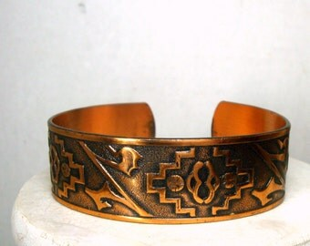 Solid Copper Cuff, 1970s Purchase New Mexico USA, Stylized Pueblo Design,  Bracelet Traditional Native American Style