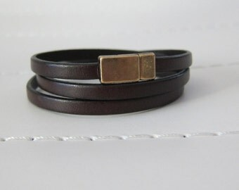 Brown Flat Leather (5MM) Triple Wrap Bracelet