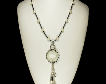 Leather & Pearl Necklace, Handmade Lampwork Jewelry