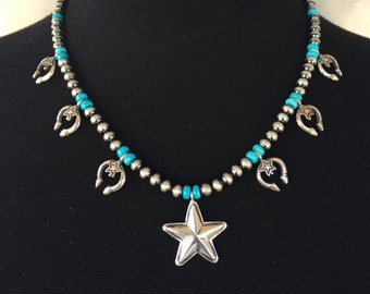 N35 Mini Squash Blossom Boho Style Necklace Sterling Silver Turquoise Santa Fe Pearls Naja and Stars