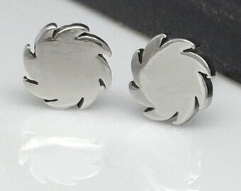 Men's stud earrings, circular sonic blade stud earrings for men, stainless steel saw blade studs, men's earrings, steel stud earrings, 428