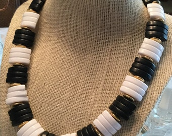 Simple Chic Black and White Lucite Necklace with Gold Spacer Beads