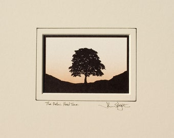 The Robin Hood Tree ( Sycamore Gap - Hadrian's Wall) Hand-Cut Papercut Landscape Version