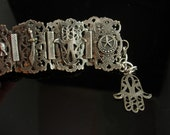 Antique Hamsa amulet Bracelet gypsy talisman with gothic sword and stars Hand of Fatima Charm Fob