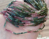 "Organic Look Natural Gemstone Pink Green Blue Watermelon Tourmaline Polished Crystal   Brick Cube Nugget Beads 7"" strand"