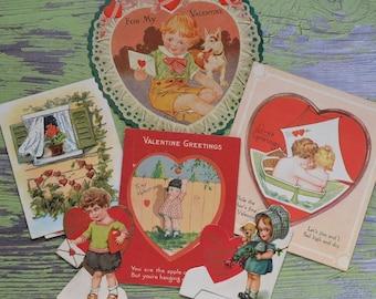Vintage Valentine Card Lot Cutouts Stand Up Children Bavaria