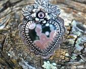 Ocean Jasper Scared Heart Ring