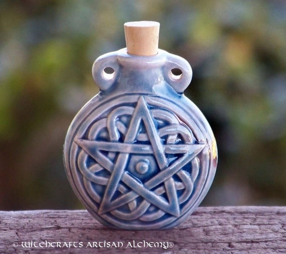 "PENTACLE ""Artisan Alchemist""™ Raku Style CERAMIC Potion Bottle for Spell Oil, Potions, Incense Powders, Pet Animal Familiar Ashes"