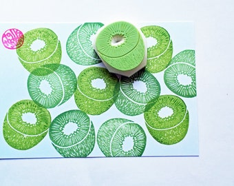 kiwi fruit stamp. hand carved rubber stamp. garden stamp. food stamp. birthday scrapbooking. cake gift wrapping. spring holiday crafts