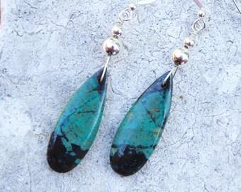 Sonoran Sunrise Earrings, Teardrop Turquoise Earrings, Teardrop Gemstone Earrings, Turquoise Earrings