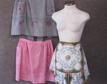 1950s Vintage Apron Lot 3 Cotton Half Aprons, Handkerchief, Hand Embroidered Cross Stitch Gingham, Farmhouse Kitchen Housewife, Hostess 50's