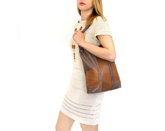 "brown leather tote, bag with pockets - handmade designer leather bag - italian quality leather ""FRANCESCA"""
