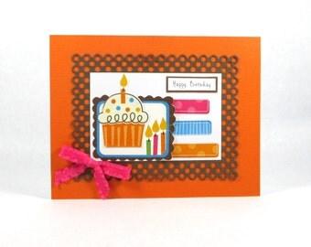 Cupcake birthday cards, girls birthday card, kids birthday, children's birthday, handmade birthday, happy birthday