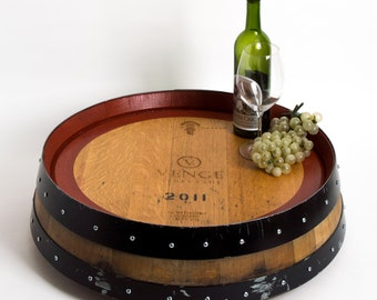 Banded Barrel Head Lazy Susan with Cooperage Stamp, Authentic Painted Bands