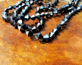 Bicone Black 42 Beads 1 strand 8 mm Bicone beads Jewelry Supply