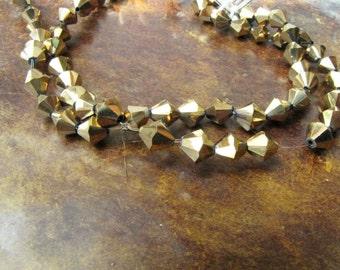 Gold Bicone 42 Beads 1 strand 8 mm Bicone beads Jewelry Supply