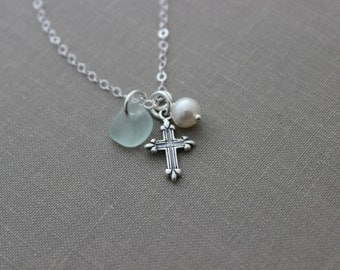 Sterling Silver small Cross, Genuine sea glass and White Freshwater Pearl Necklace - all sterling silver, faith necklace, Beach jewelry