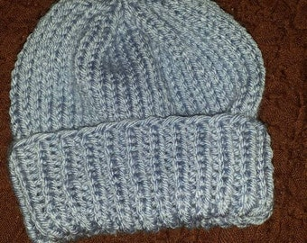 Baby hat -knit -blue -3 to 6 months -acrylic -ready to ship
