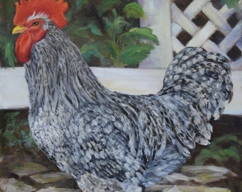 Rooster Painting 416,Black and White Specked Rooster,Original Oil Painting