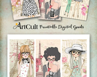 Printable digital images FASHIONISTAS IN PARIS downloadable art tags, greeting carts, collage sheet, print-it-yourself gift cards teen girls