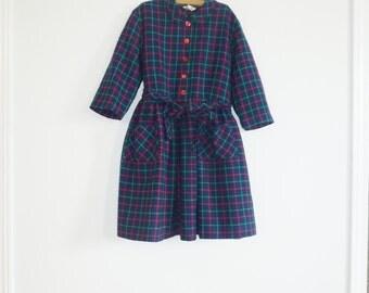 Vintage Navy Plaid Girl's Dress