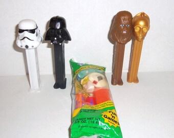 5 Vintage Star Wars Pez Cp3O Luke Storm Trooper Darth Vader Chewbacca