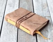 Tan Leather Journal with Golden Yellow Bookmark, Travel Diary