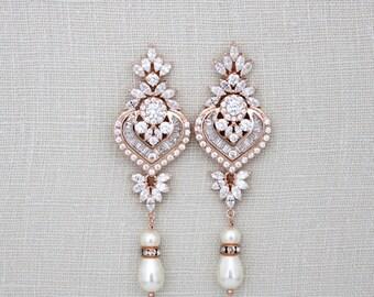 Rose gold bridal earrings, wedding jewelry, bridal crystal earrings, Chandelier Rose gold wedding earrings, Long earrings, Art Deco, EMMA