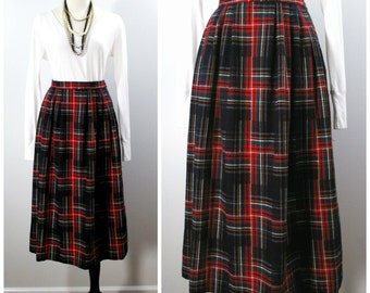 Vintage Pleated Plaid Skirt, Red and Navy Wool Plaid Below The Knee Skirt, Holiday Fashions Size Large
