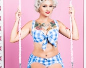 Gingham Bra and Shorts Set, Gingham Lingerie Set, Pin Up Underwear, Retro Bra Top, Rockabilly Lingerie Set, Vintage Bikini Top, Sizes XS-L