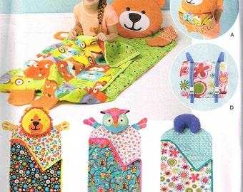 Child Sleeping Bag Nap Packs Simplicity 1389 Sewing Pattern Animal Bear Lion Owl Blanket Pad
