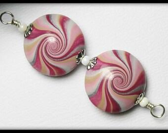 Cranberry Splash... Handmade Polymer Clay Beads Set Earring Pair Pink Plum Purple Silver White Lentil Lentils Swirl Spiral Jewelry Supplies
