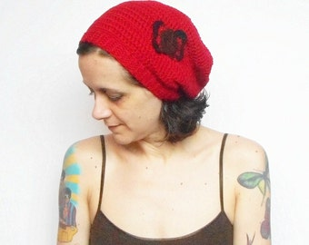 Red Slouchy Crochet Butterfly Beanie Hat, ready to ship.