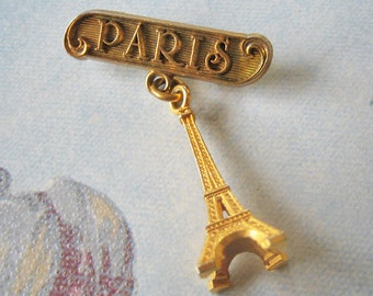 Vintage Paris brooch, vintage Eiffel tower brooch, vintage Paris souvenir brooch, Antique Paris brooch, Eiffel tower pin