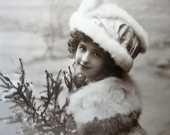 Antique christmas photo postcard, French christmas card, pretty girl photo postcard, girl in furs, winter girl, Antique christmas card