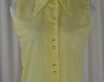 Vintage Blouse,Yellow Top, 70s Top, Button Down, Preppy Top, Sleeveless Top, Dead Stock, Sock Hop Shirt, 1970s Blouse, Spring Shirt,