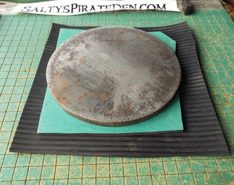Round Bench Block,  6 1/4 x 1/2 inch, steel plate, stamping block, with foam rubber pad, Save Your Table !