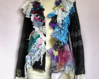 Sale, Art-to-Wear, L-XL Jacket, Sweater, Victorian junk gypsy, altered couture, prairie Hippie earthy clothes, ECO, eclectic, boho, ATW-Q133