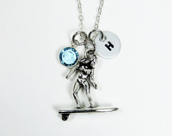 Surfer Necklace - Ocean Beach Surf, Personalized Initial Name, Customized birthstone