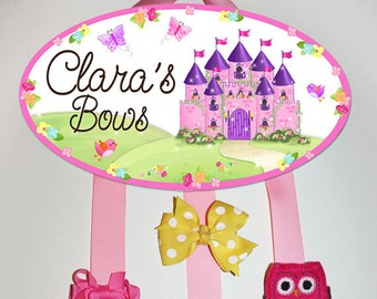 HAIR BOW HOLDER - Personalized Princess Fairytale HairBow Holder - Bows and Clips Organizer - Girls Personal Hair Bow and Clip Hanger Hb0017