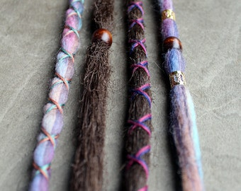 4 Custom Standard *Clip-in or Braid-in Dreadlock Extensions Tie-dye Wool & Synthetic Hair Dreads