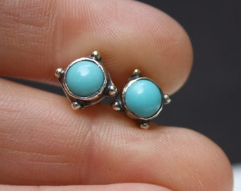 Turquoise Ear Studs Sterling Silver
