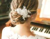 Pearl wedding hair pin, ivory lace wedding hair pin, lace hair pin for wedding - style #129